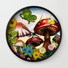 Shroomvilla Summer Whimsical Fantasy Art Wall Clock