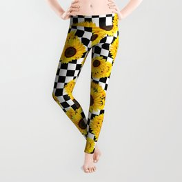Yellow Sunflower Floral with Black and White Checkered Summer Print Leggings
