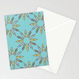 Dip Pen Nibs Circle (Lake Blue Palette) Stationery Cards