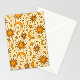 Vintage Sun and Star Print Stationery Cards