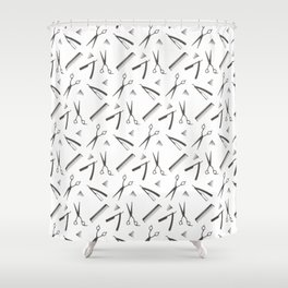 Barbershop pattern shaving razor, brushes and scissors on white Shower Curtain
