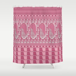 Rose Pink Geometric Abstract Shower Curtain