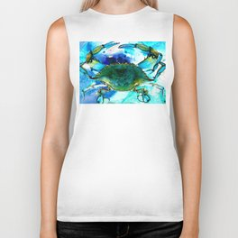 Blue Crab - Abstract Seafood Painting Biker Tank