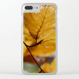 leaves in brown by Janina Clear iPhone Case