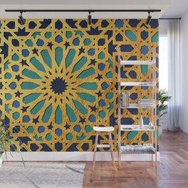 -A1_2- Golden Original Traditional Moroccan Artwork. Wall Mural