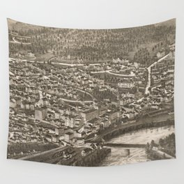Vintage Pictorial Map of Brattleboro VT (1886) Wall Tapestry