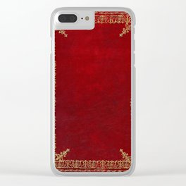 Red and Gilded Gold Book Clear iPhone Case