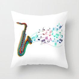 Jazz Musician Saxophone Player Throw Pillow