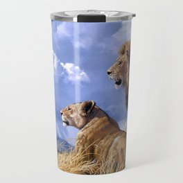 Couple Of Lions Resting In Savannah Ultra HD Travel Mug