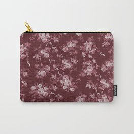 Pastel pink marsala red modern elegant roses floral Carry-All Pouch