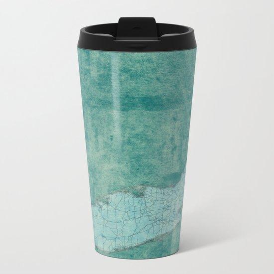 Florida State Map Blue Vintage Metal Travel Mug