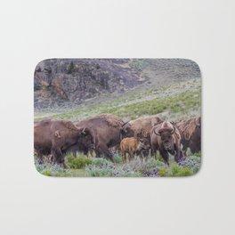 Buffalo On The Move In Yellowstone Bath Mat