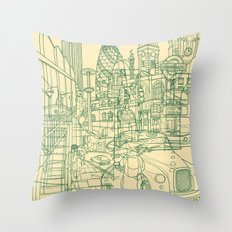 London! Cream Throw Pillow