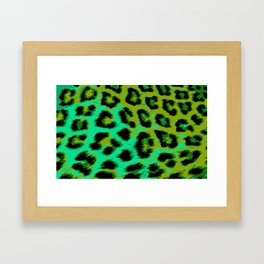 Aqua and Apple Green Leopard Spots Framed Art Print