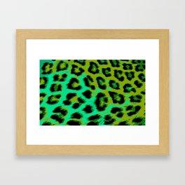 Aqua and Apple Green Leopard Spots Framed Art Print