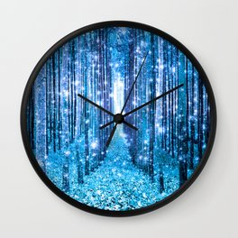 Magical Forest  Light Blue Turquoise Wall Clock