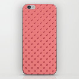 Burgundy Red on Coral Pink Snowflakes iPhone Skin