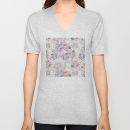 Pastel Purple and blue Lilac & Hydrangea - Flower Design Unisex V-Neck