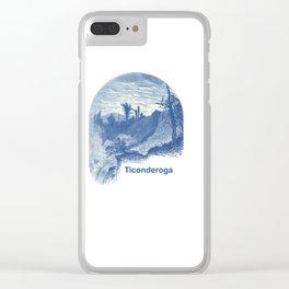 Lower Falls, Ticonderoga (cyan) Clear iPhone Case
