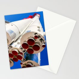 Vintage Spacecraft Against The Background Of Blue Sky Stationery Cards