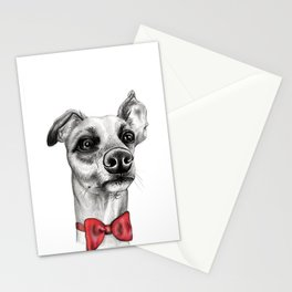 Whippet Wearing Bow Tie Stationery Cards