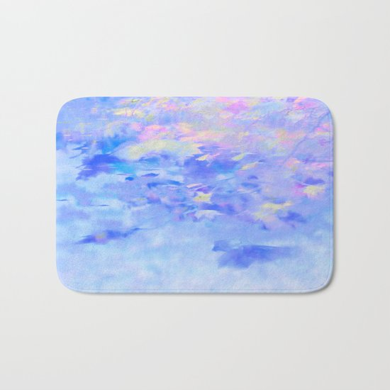 Blue Leaves under a Lavender Sky Bath Mat