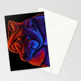 Fire Wolf Colorful Fantasy Animals Stationery Cards