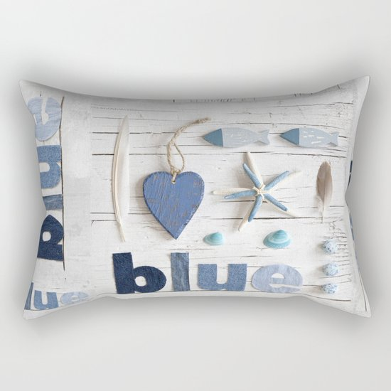 Blue collected items maritime collage Rectangular Pillow