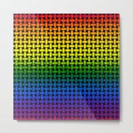 Rainbow Gradient Painted Weave Pattern Metal Print