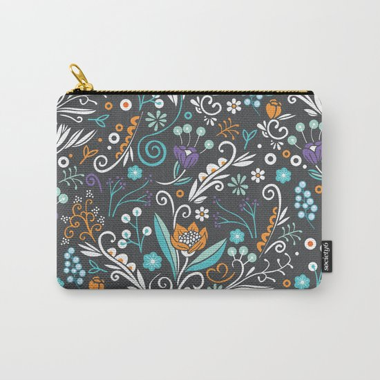 Flower circle pattern, brown Carry-All Pouch