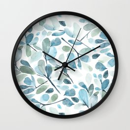 Painted Watercolor Leaves Wall Clock