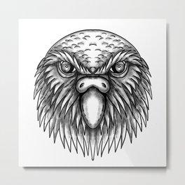 Kakapo Owl Parrot Head Tattoo Metal Print