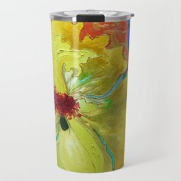 Birthday Acrylic Yellow Orange Hibiscus Flower Painting with Red and Green Leaves Travel Mug