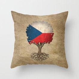 Vintage Tree of Life with Flag of Czech Republic Throw Pillow
