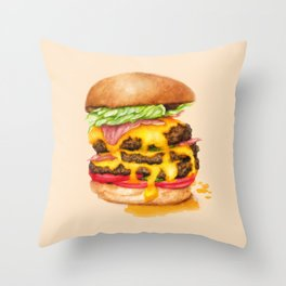 Juicy Cheeseburger Throw Pillow