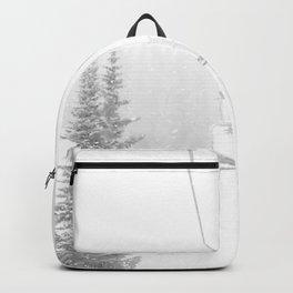 Ski Lift Horizon // Ride to the Peak Epic Adventure Whiteout Black and White Minimal Photograph  Backpack