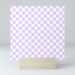 Large Chalky Pale Lilac Pastel Color and White Checkerboard Mini Art Print