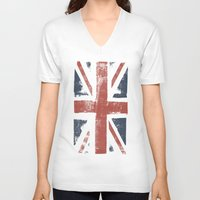 union jack V-neck T-shirts featuring Union Jack by David Hand