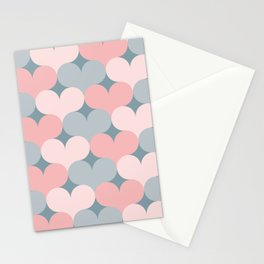 Heart pattern. Pink and gray Stationery Cards