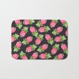 Hot pink green black tropical watercolor pineapple fruit Bath Mat