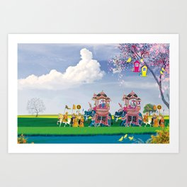 Indian Fusion -Travel in open sky Art Print