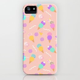 Colorful ice cream, in a seamless pattern design iPhone Case