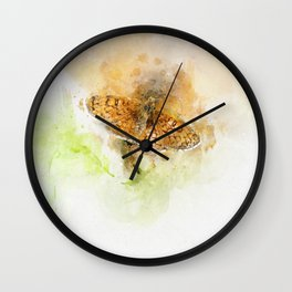Orange butterfly Melitaea parthenoides Wall Clock