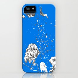 Two Tailed Duck and Jellyfish Royal Brilliant Blue iPhone Case