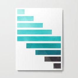Blue Teal Turqoise Midcentury Modern Minimalist Staggered Stripes Rectangle Geometric Aztec Pattern Metal Print