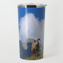 Ram Against Mountain Backdrop Travel Mug