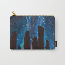Outlander Craigh Na Dun Standing Stones Watercolor Painting with milky way galaxy Carry-All Pouch