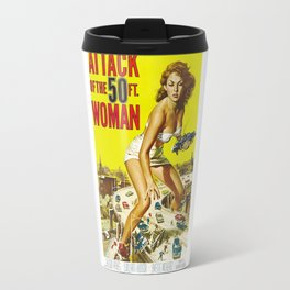 Attack Of The 50 Foot Woman, vintage horror movie poster Travel Mug