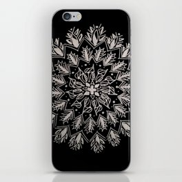 Silver and Black Peacock Inspired Mandala iPhone Skin