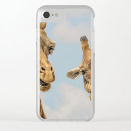 Giraffes Talking Clear iPhone Case